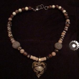 Wooden and glass beaded heart necklace